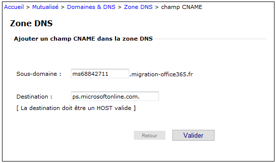Exemple enregistrement CNAME Office 365